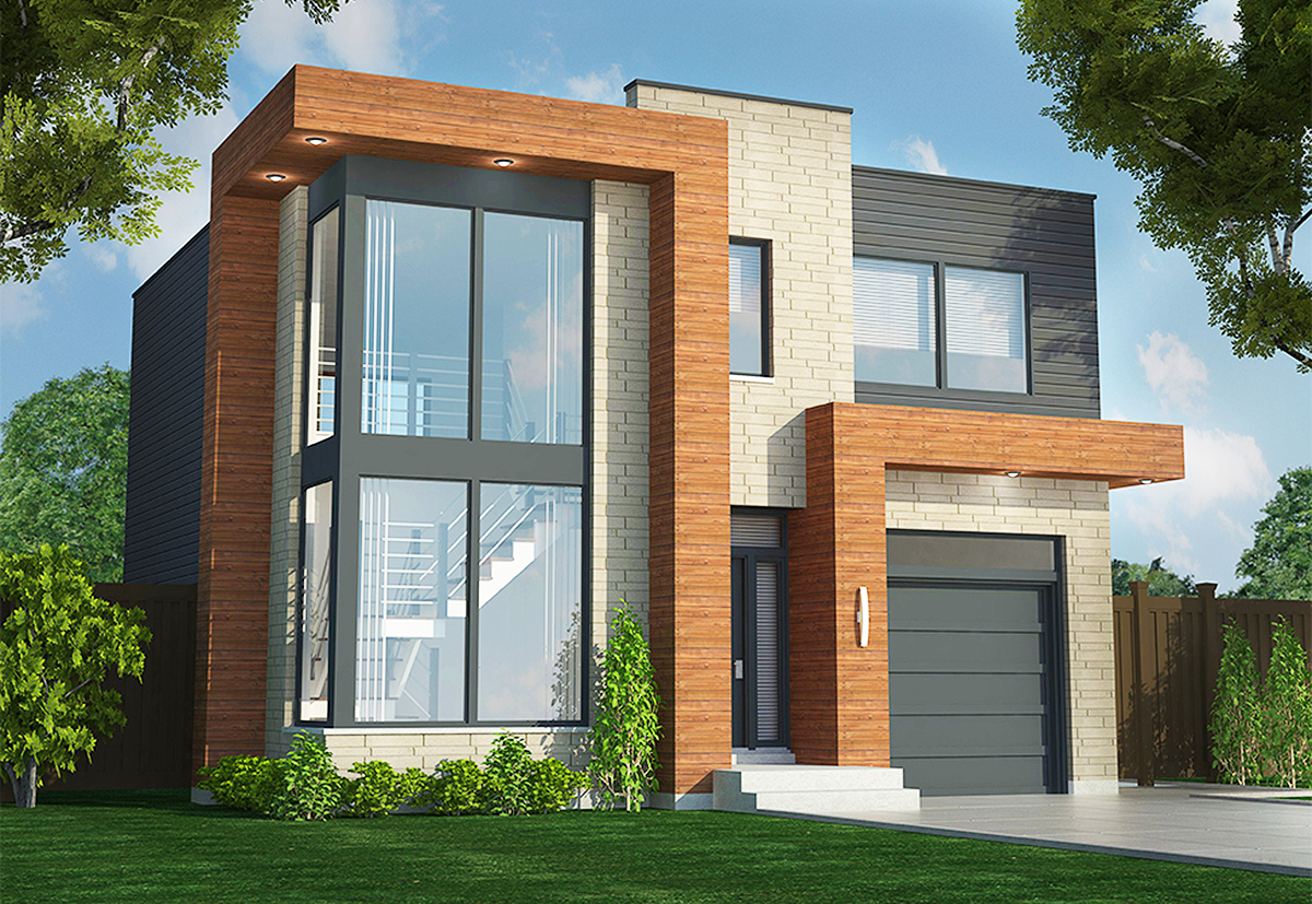 Contemporary Duplex - 90290PD | Architectural Designs ... on Modern House Ideas  id=34002