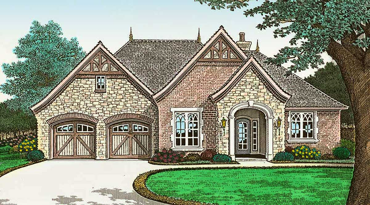 French Country Cottage With Outdoor Living 48532fm