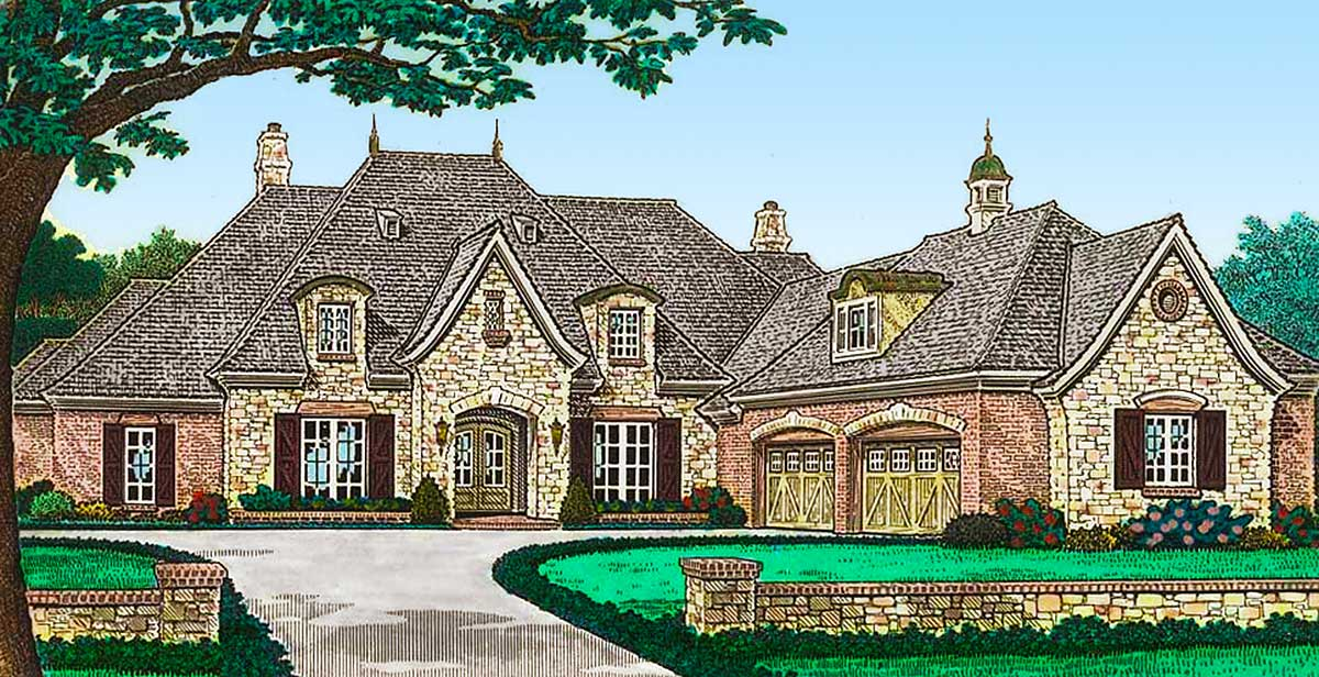 Luxury French Country House Plan with Four Car Garage ...