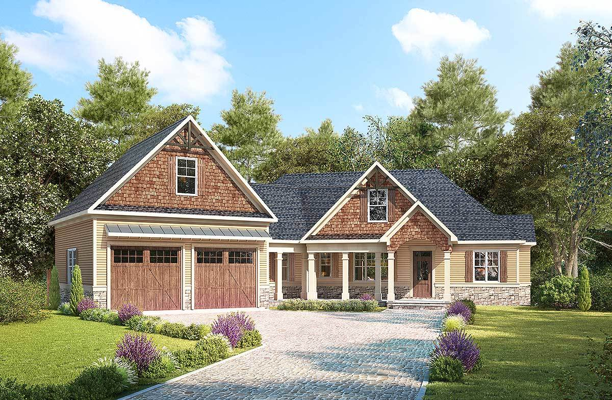 Craftsman With Angled Garage With Bonus Room Above 36079dk Architectural Designs House Plans