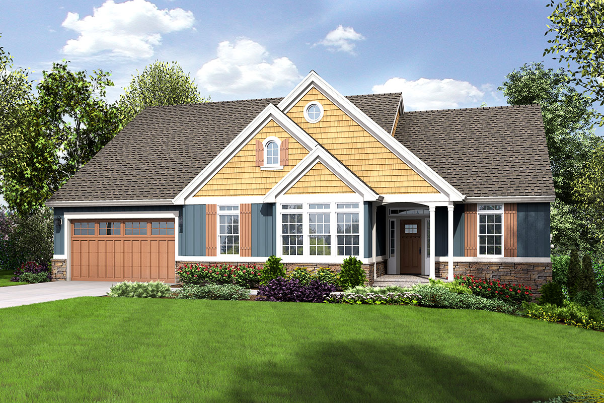 ranch house plan for a sloping lot 69639am