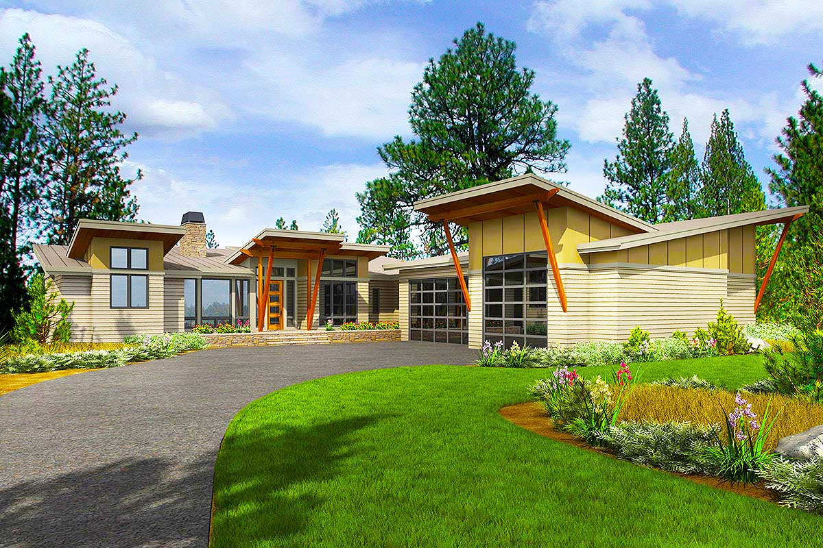 Stunning Modern House Plan with Deck and Vaulted Porch in ...