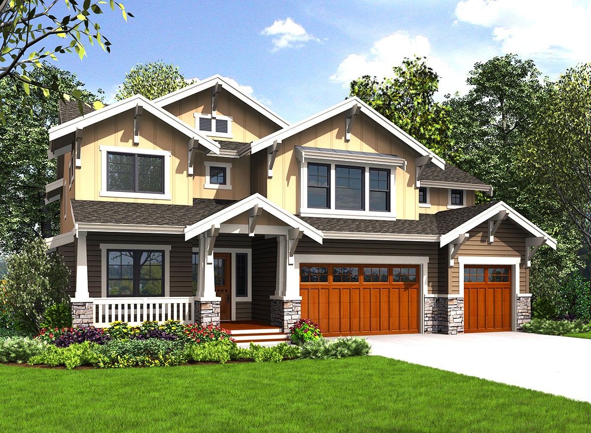 4 or 5 Bed Craftsman House Plan With Upstairs Laundry