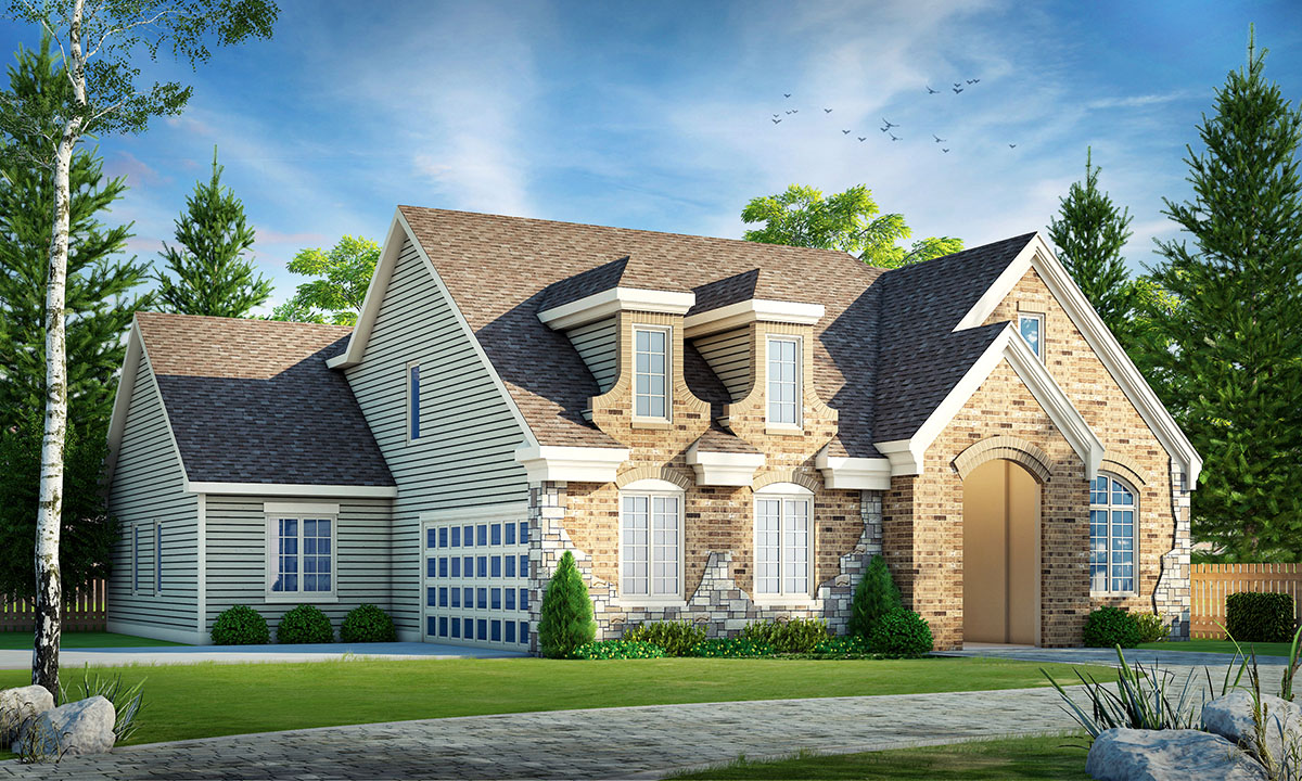 Three Bed House Plan With Room Over Garage - 42415DB ...