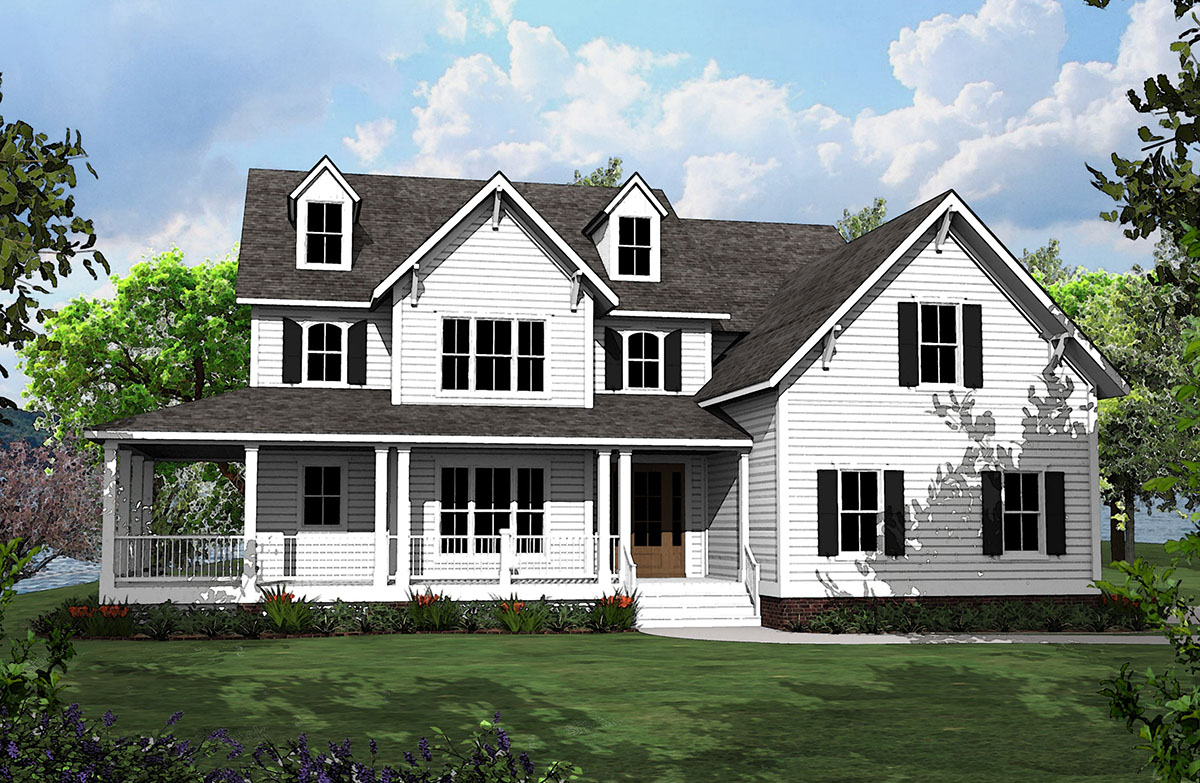 4 Bed Country House Plan with L-Shaped Porch - 500008VV ...