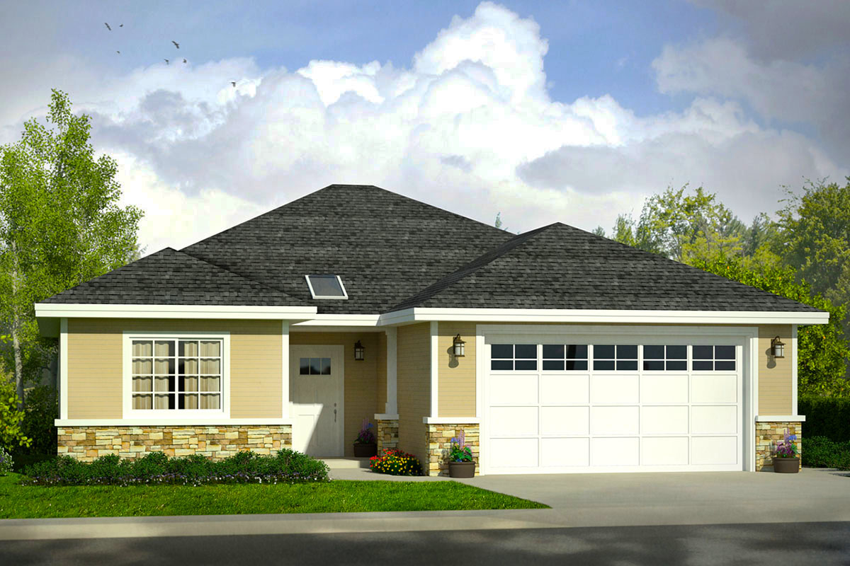 One Story Ranch Style House Plan with 3 Bedrooms - 72861DA ...
