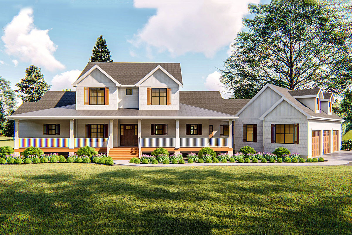 Four Bed Modern Farmhouse Plan with Loft - 62663DJ ...