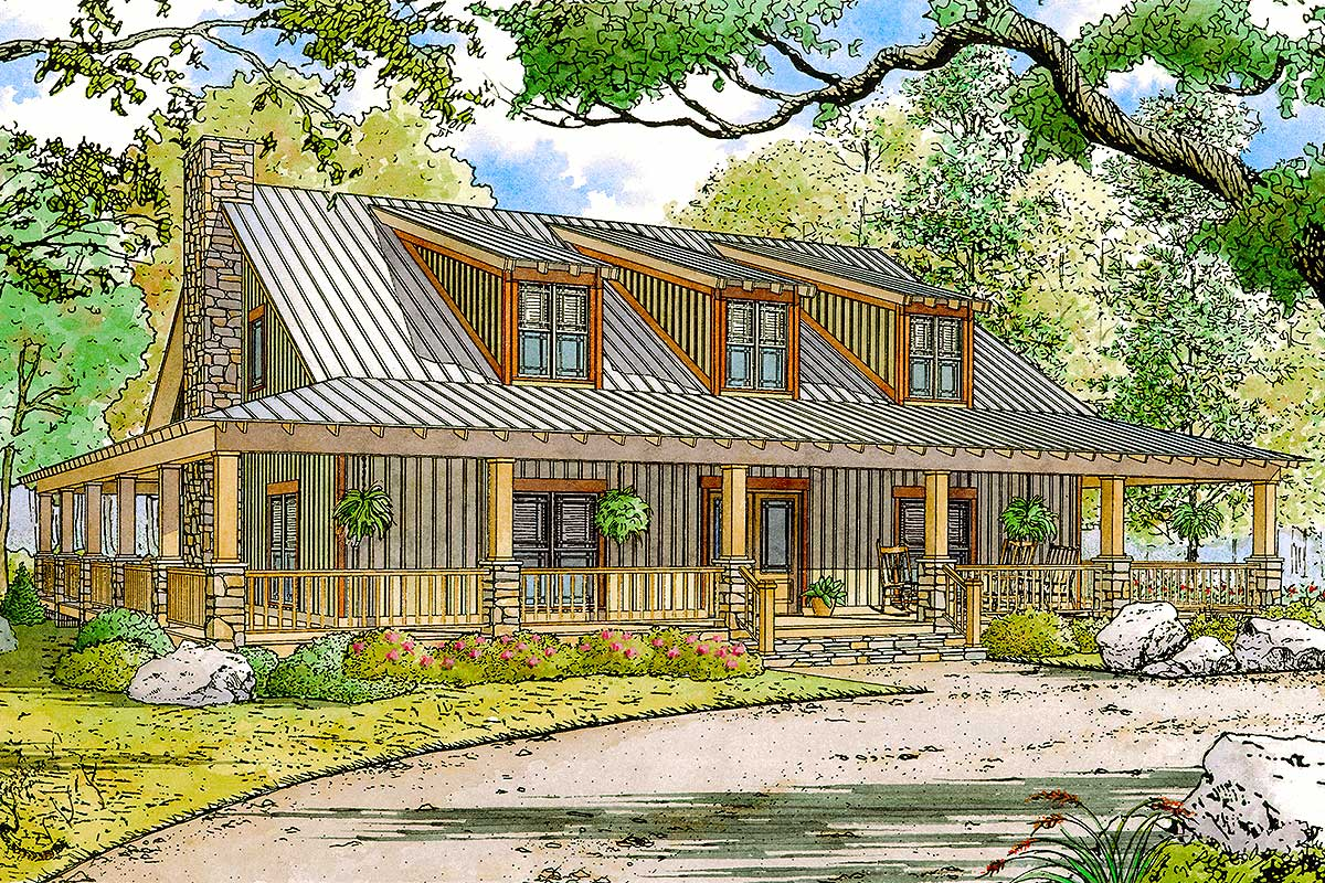 Rustic Country Home Plan With Wraparound Porch