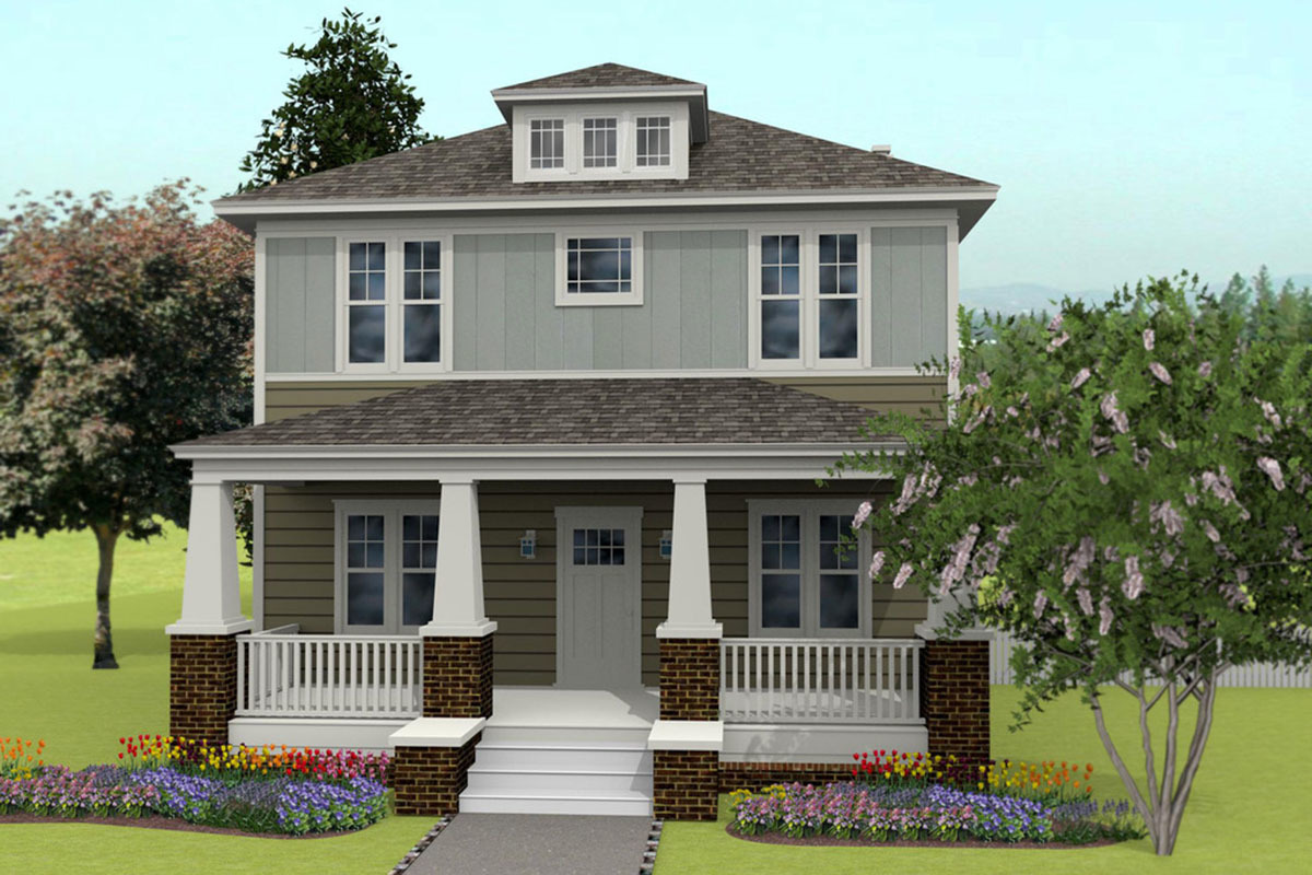 Modern Four Square House Plan With Three Porches 50148ph Architectural Designs Plans