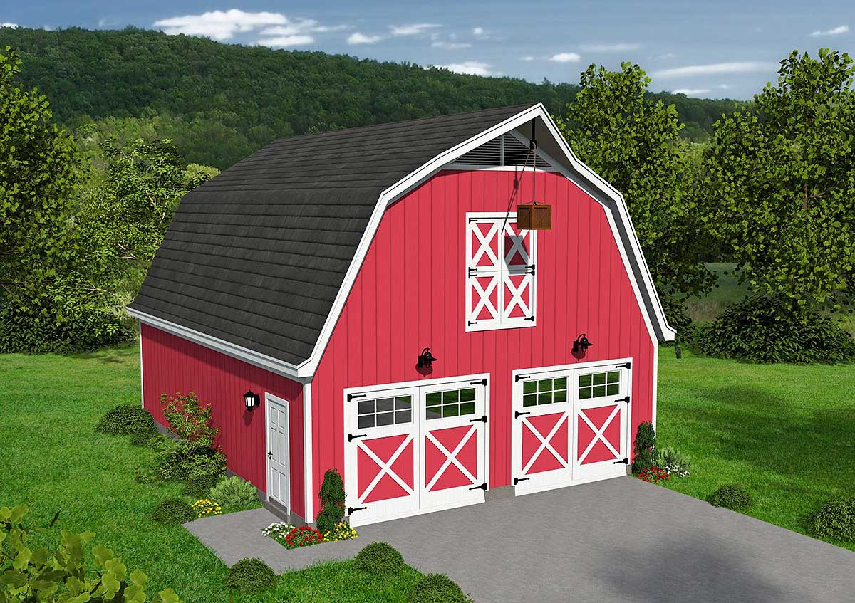 Classic Barn Style Garage With Loft 68477vr