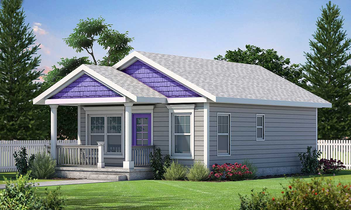 2 Bed Tiny House Plan with Cozy Front Porch - 42419DB ...