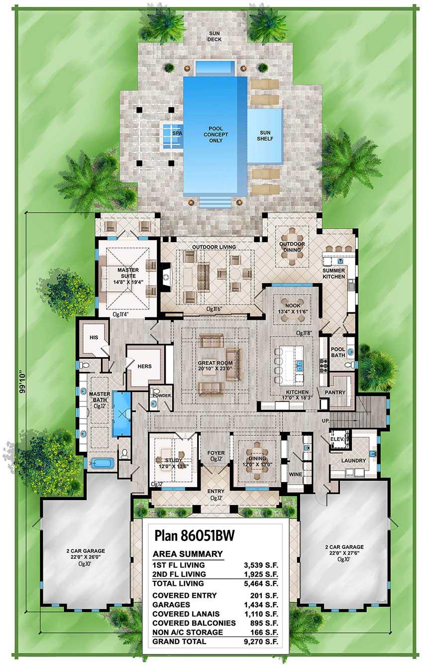 Spacious Tropical House Plan - 86051BW | Architectural ...