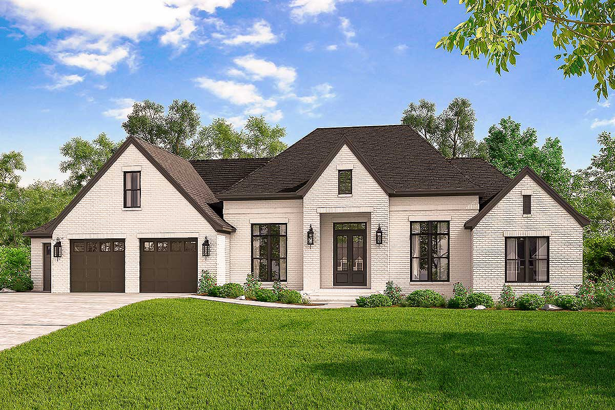 Exclusive 4-Bed French Country Home Plan with Optional ...