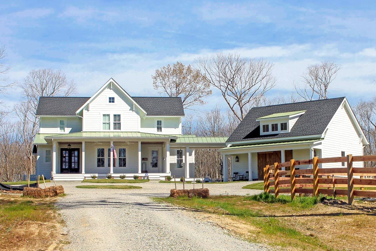 Plan 500018VV: Quintessential American Farmhouse with Detached Garage on