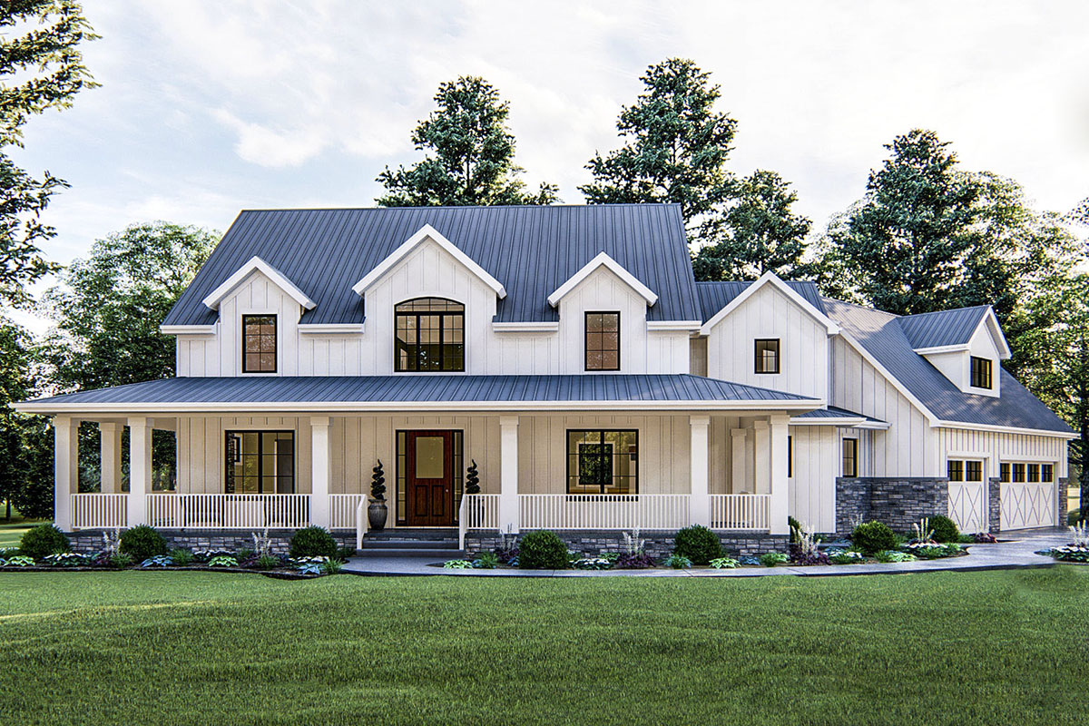 Modern Farmhouse with Angled 3-Car Garage - 62668DJ ...