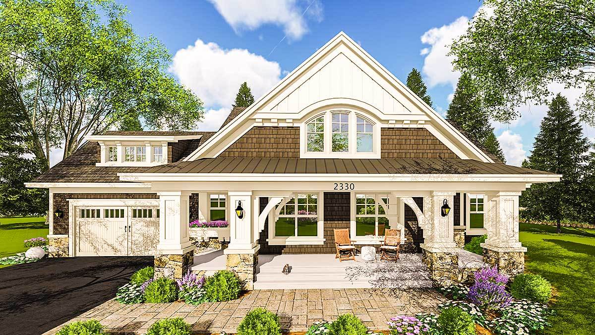 Craftsman House Plan With Two Large Porches 14655rk