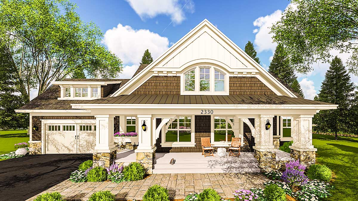 Craftsman House Plan With Two Large Porches