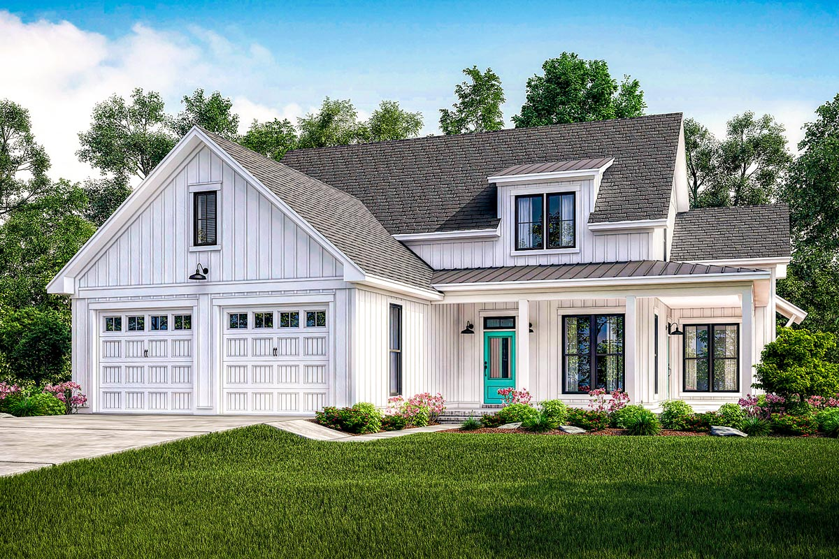 Exclusive Modern Farmhouse Plan with Flexible Upstairs ...