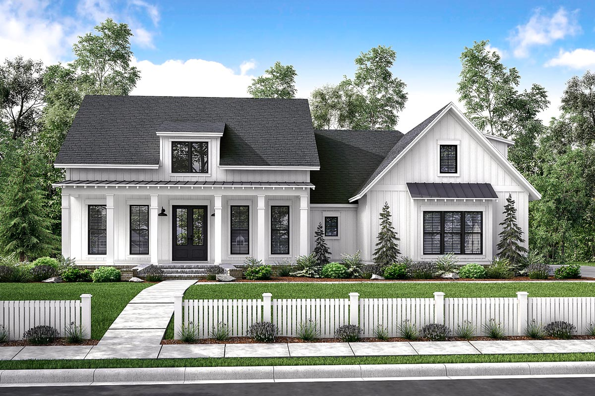 Mid-Size Exclusive Modern Farmhouse Plan