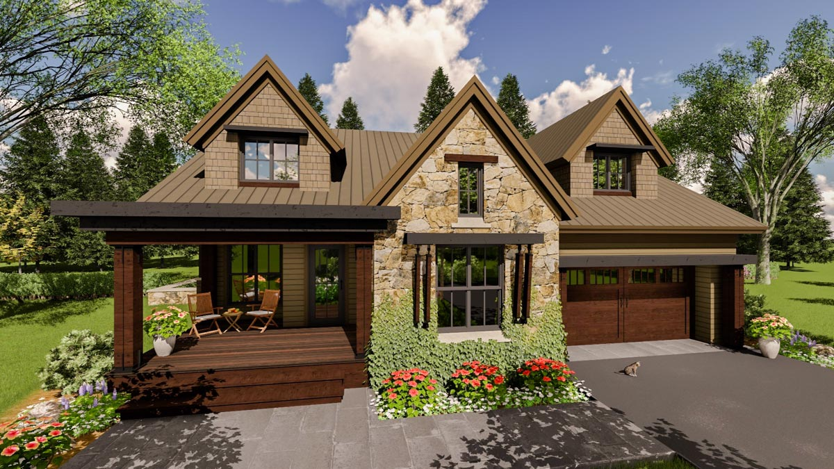 Craftsman House Plan with Upper Level In Law Suite