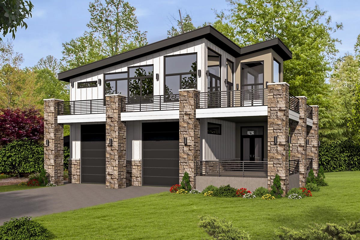 Unique Contemporary Home with RV Bays - 68496VR ...