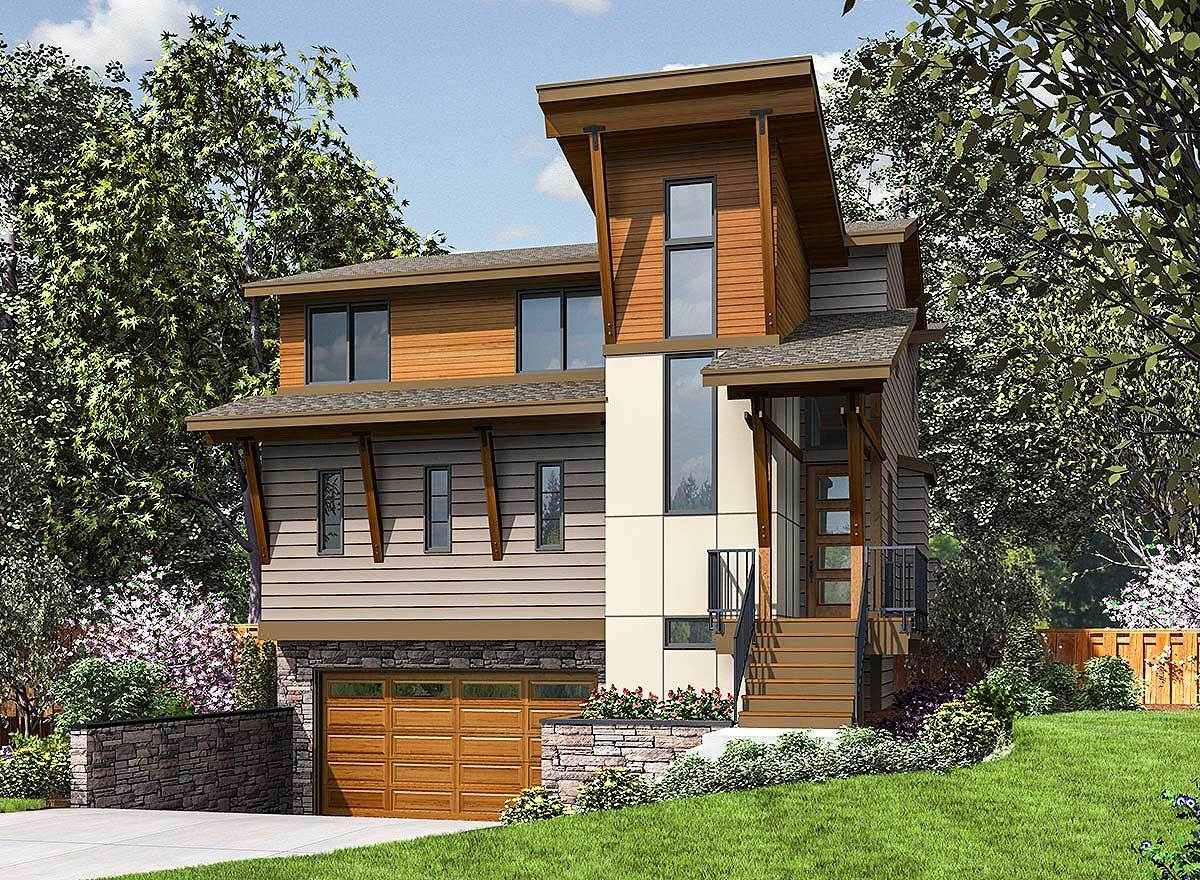 Three Story Modern House Plan Designed For The Narrow Front Sloping Lot 23699jd Architectural Designs House Plans