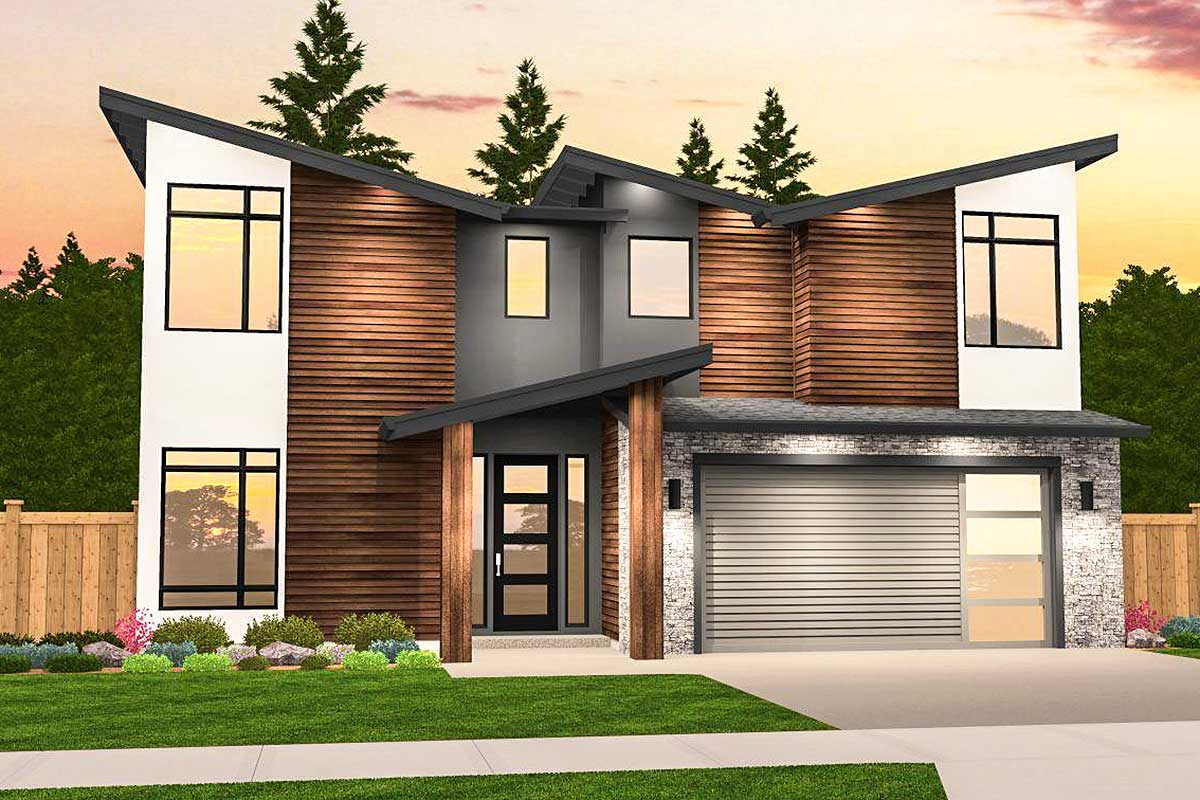 Angular Modern House Plan with 3 Upstairs Bedrooms ...