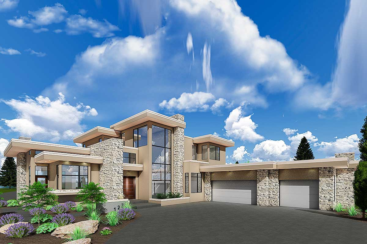 Luxury Modern House Plan with Upstairs Master Retreat - 81695AB  Architectural Designs - House