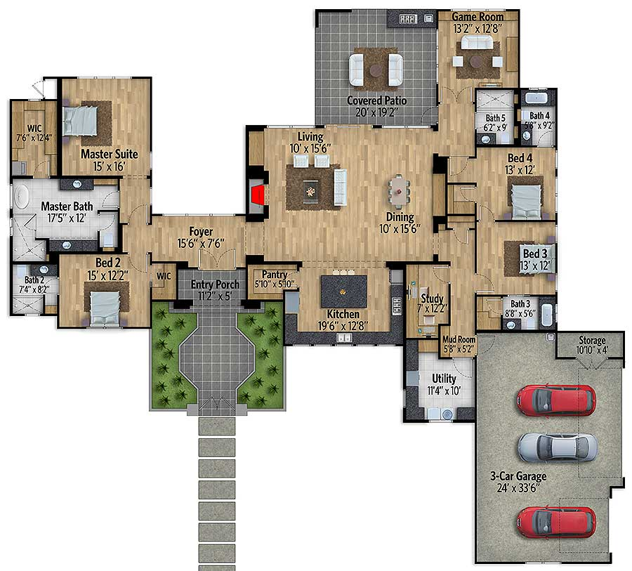 Home Design Plans Video: One Story European House Plan With Game Room