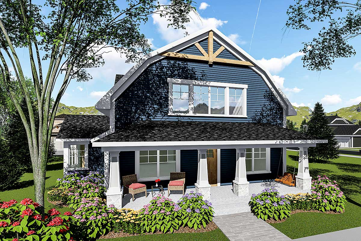 3-Bed House Plan With Gambrel Roof
