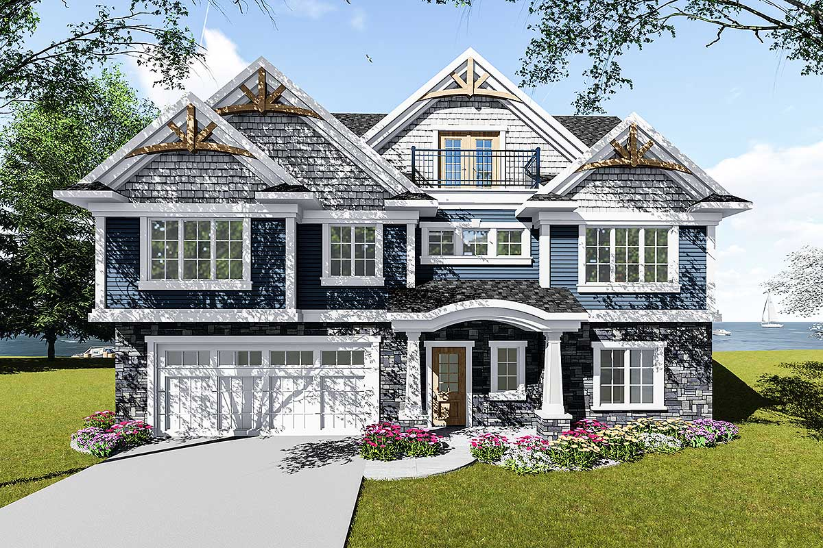 Craftsman House  Plan  for a View  Lot  890067AH
