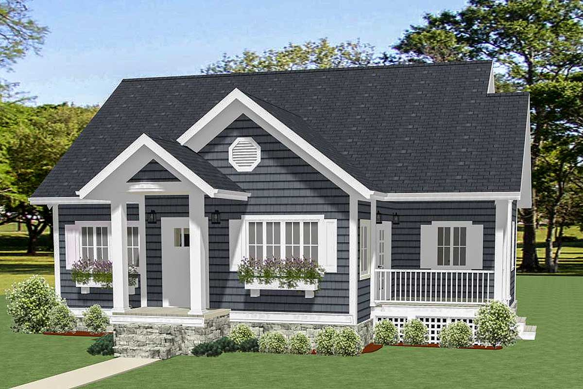 Two Bedroom Cottage - 46317LA | Architectural Designs ...