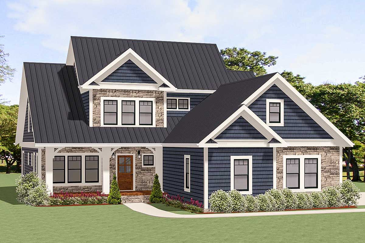 Traditional House Plan With Two-Story Family Room