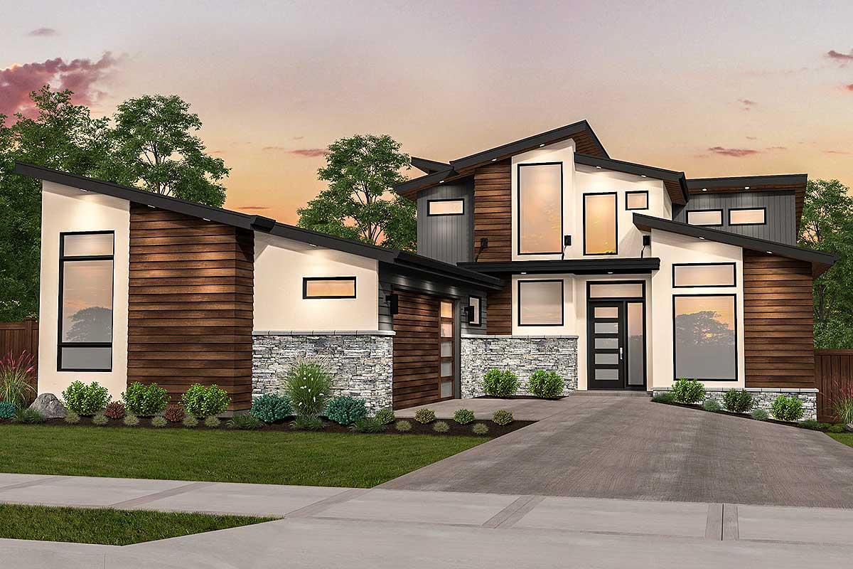 Angular Modern House Plan with Master On Main - 85213MS ...