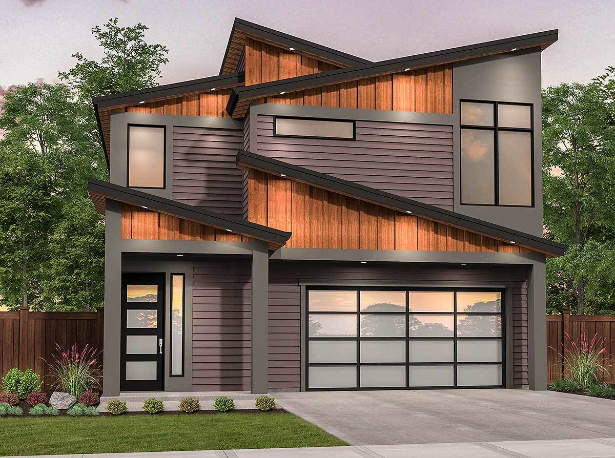 Edgy Modern House Plan With Shed Roof Design 85216ms Architectural Designs House Plans