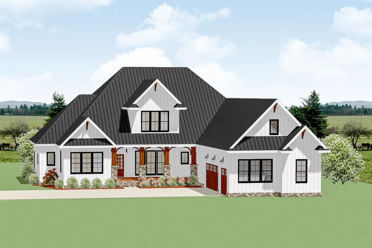 Country Craftsman House Plan With Optional Second Floor ...