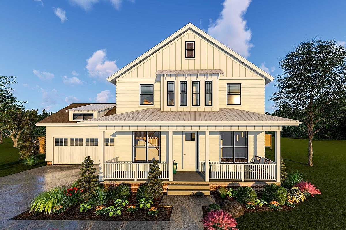 2-Story Modern Farmhouse Plan With Front Porch and Rear ...