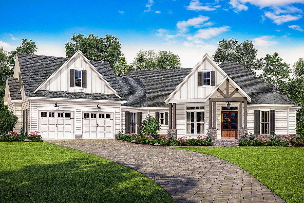 Plan 51774HZ: Contemporary Craftsman Plan with Bonus Room Over The on ranch home with great room, ranch home with deck, ranch home with 3 bedrooms, ranch home with 3 car garage,