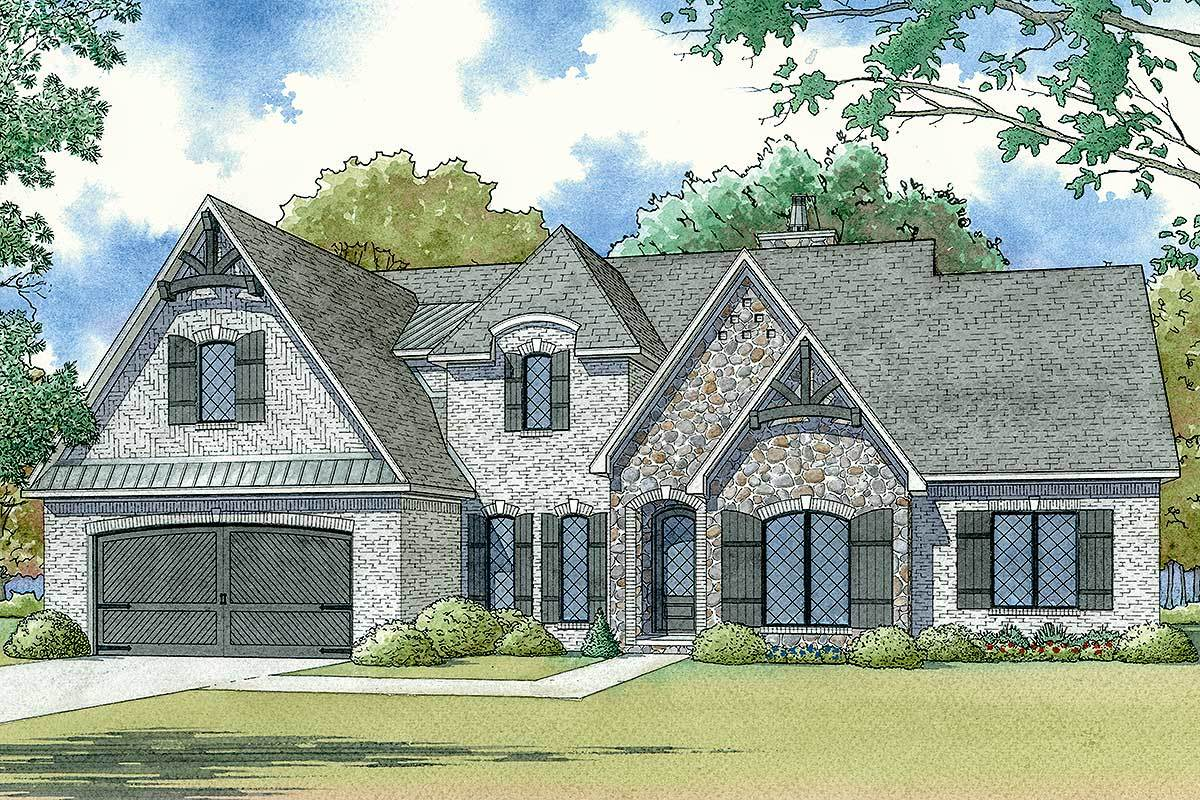 Modern French Country House Plan With Upstairs Game Room 70575mk