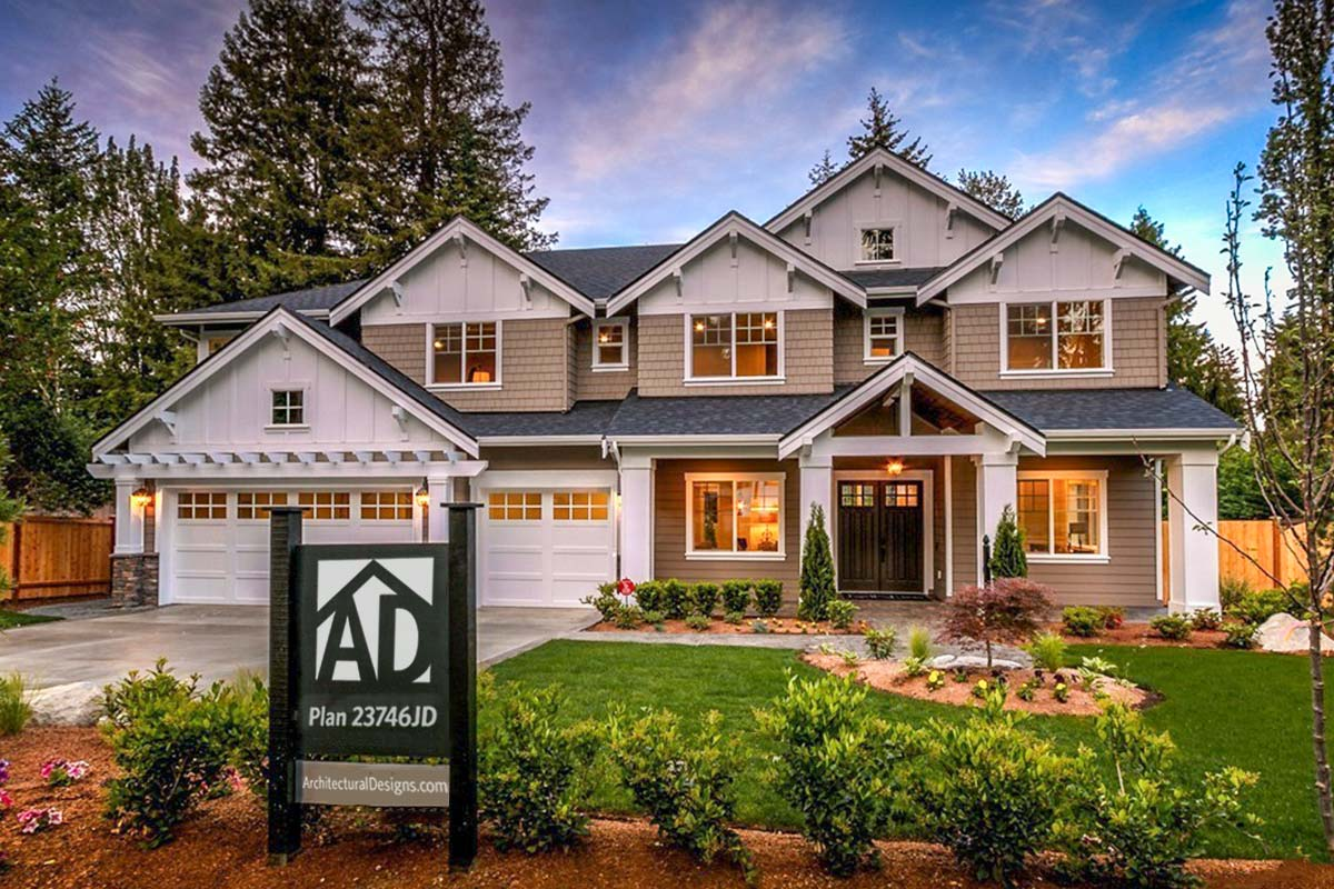 Modern Craftsman House Plan With 2-Story Great Room ...