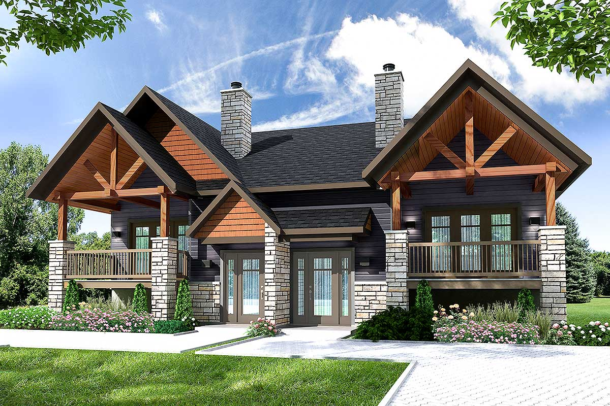 Multi-Family House Plan With Outdoor Living Room - 22476DR ...