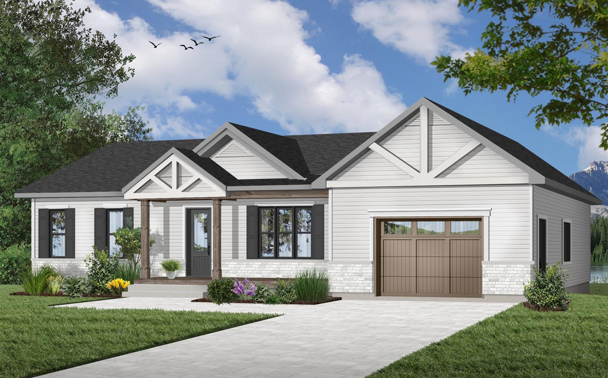 Rugged Ranch Home Plan With Attached Garage - 22477DR ...