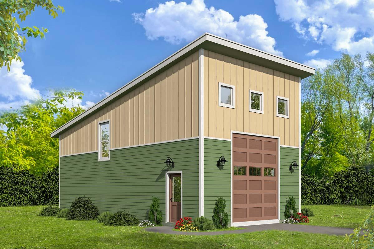 Lift Friendly Modern Garage With Loft - 68512VR ...