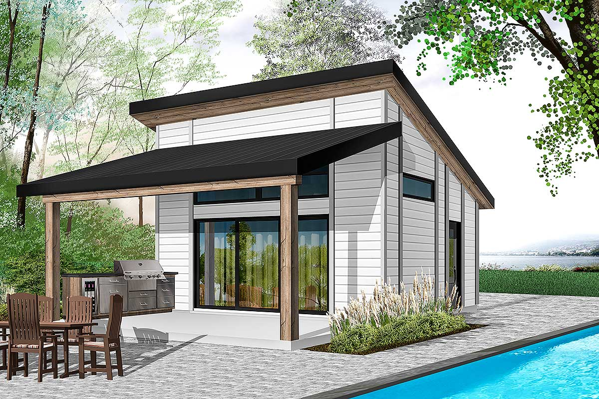One Bed Modern Tiny House Plan - 22481DR | Architectural ...