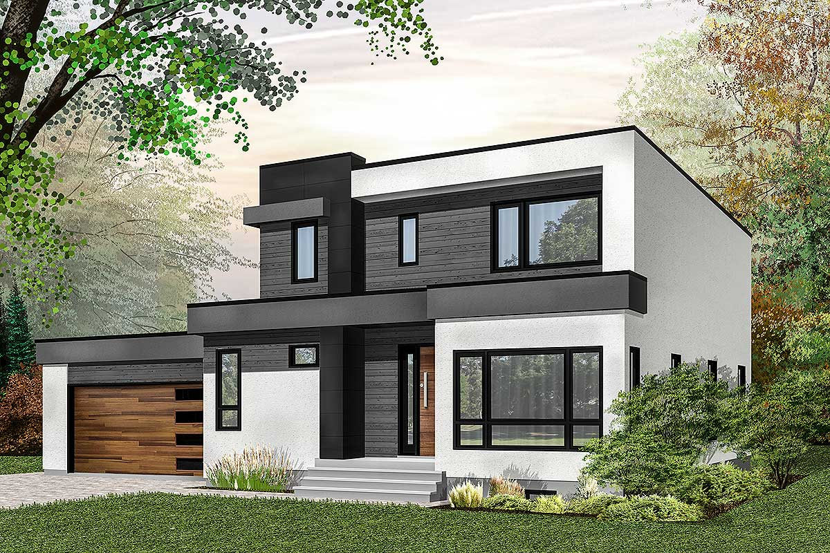 Modern House Plan With Master-Up With Outdoor Balcony ...