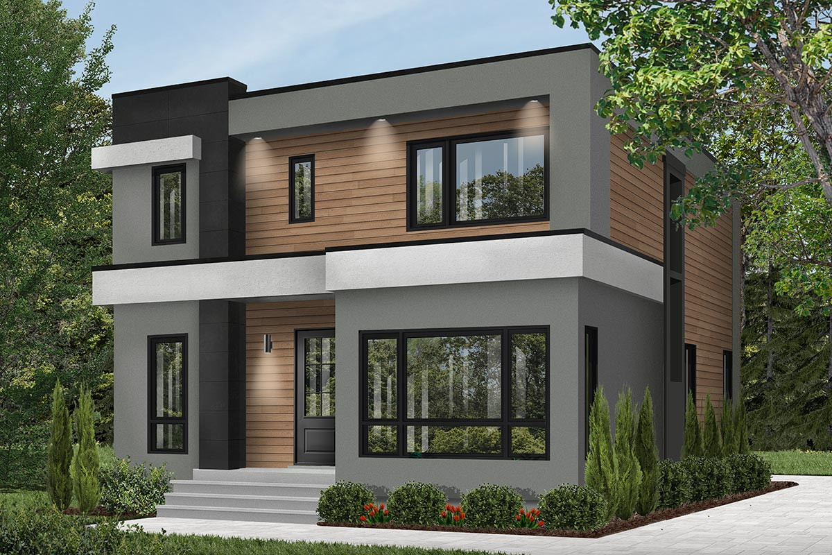 4-Bed Modern House Plan with Master Balcony - 22488DR ...