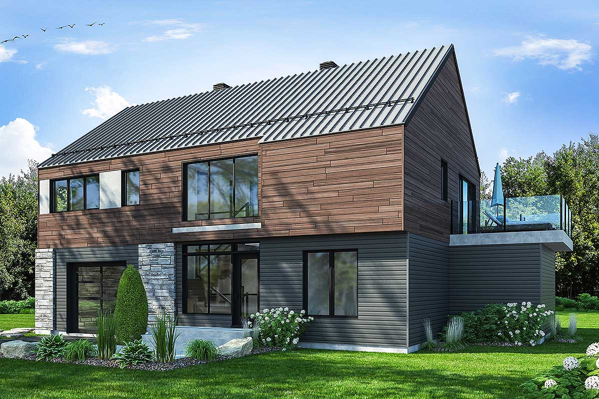 Modern Rustic House Plan with Huge Deck - 22490DR ...