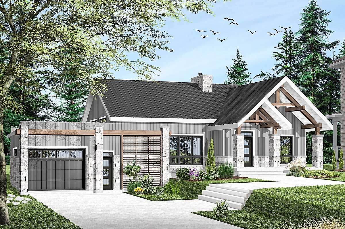 Modern ranch home plan with vaulted interior 22493dr - Modern ranch home interior design ...
