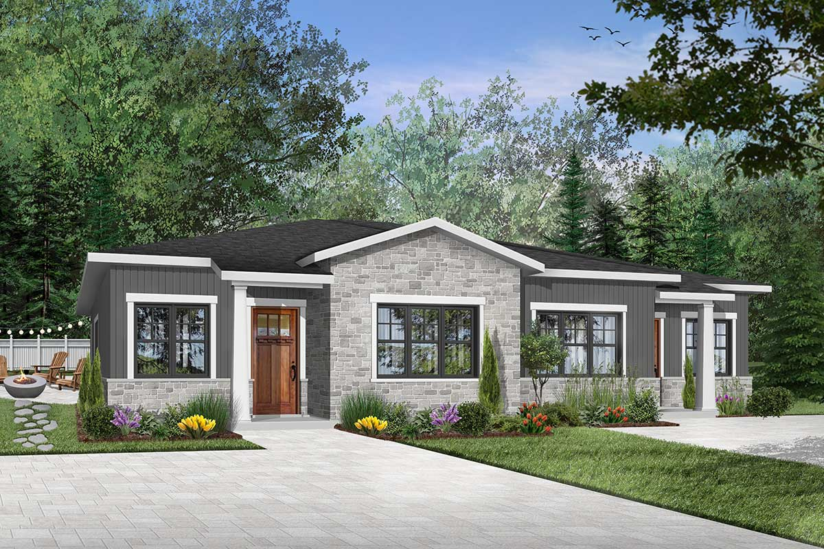 Home Plans: Modern Ranch Duplex With Matching 2-Bed Units