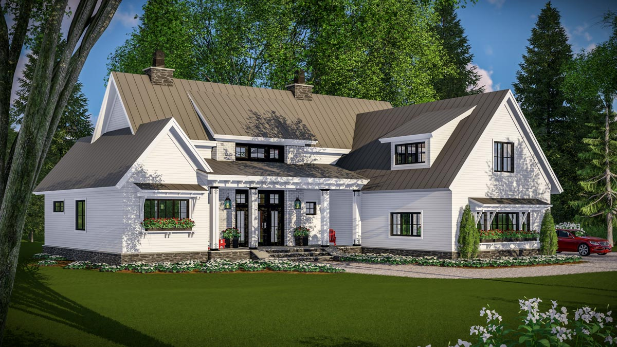 Modern farmhouse with vaulted master suite